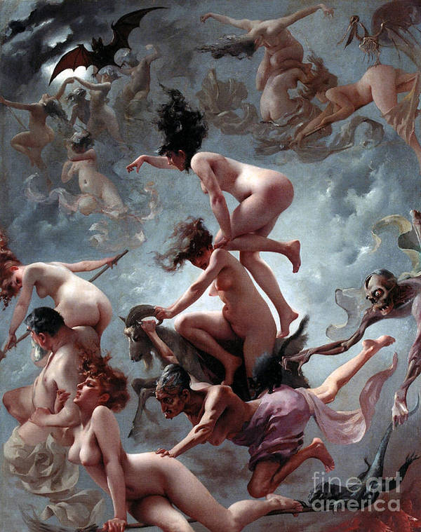 Naked Poster featuring the painting Faust's Vision by Luis Riccardo Falero