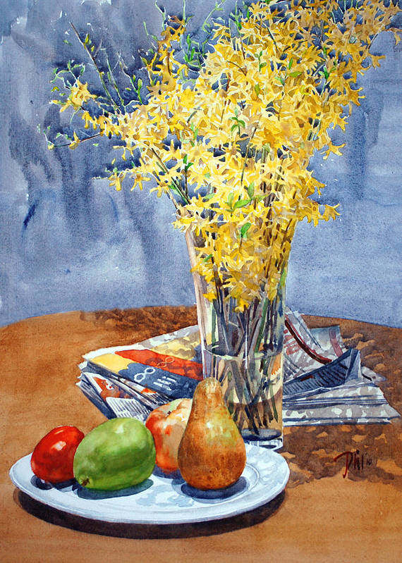 Watercolor Still Life Poster featuring the painting February Forthysia by Peter Sit