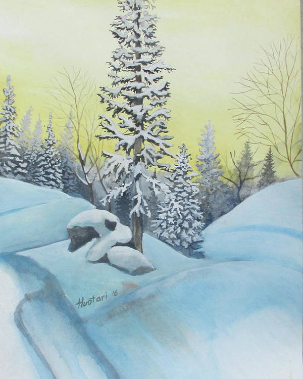 Winter Poster featuring the painting February Morning by Rick Huotari