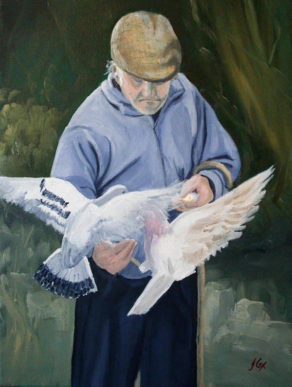 People Poster featuring the painting Feeding The Pigeons by John Cox