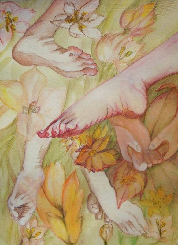 This Is A Framed Watercolor Painting Of Feet In Various Positions Poster featuring the painting Feet by Georgia Annwell
