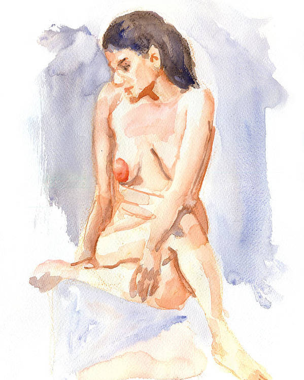 Female Poster featuring the painting Female Nude 03 by Nelson Caramico