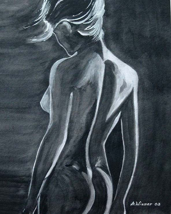Poster featuring the painting Female Nude Black And Grey by Antje Wieser