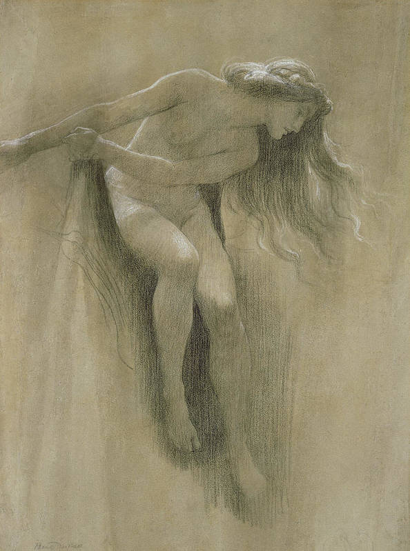 Female Nude Study (chalk On Paper) By John Robert Dicksee (1817-1903) Poster featuring the pastel Female Nude Study by John Robert Dicksee