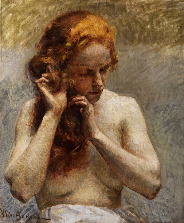 Vlaho Bukovac Poster featuring the painting Female Nude with Red Hair by Vlaho Bukovac