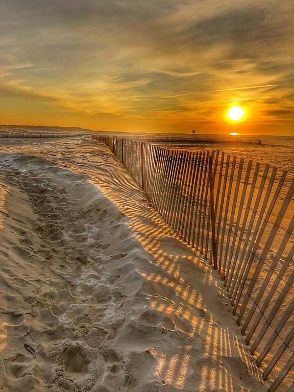 This Is Photo Of A Storm Fence On Jones Beach At Sunrise Poster featuring the photograph Fence On The Beach by William Rogers