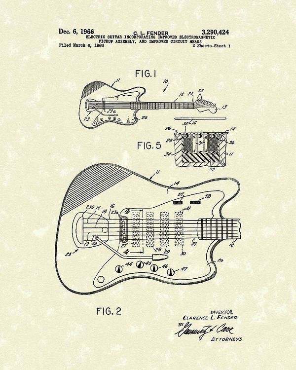 Fender Poster featuring the drawing Fender Guitar 1966 Patent Art by Prior Art Design