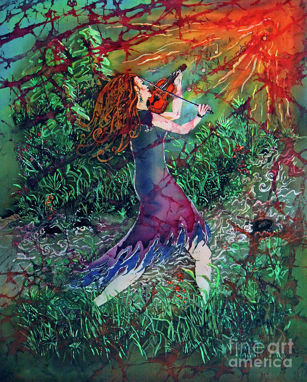 Fiddler Poster featuring the painting Fiddler Of The Forest 2 by Sue Duda
