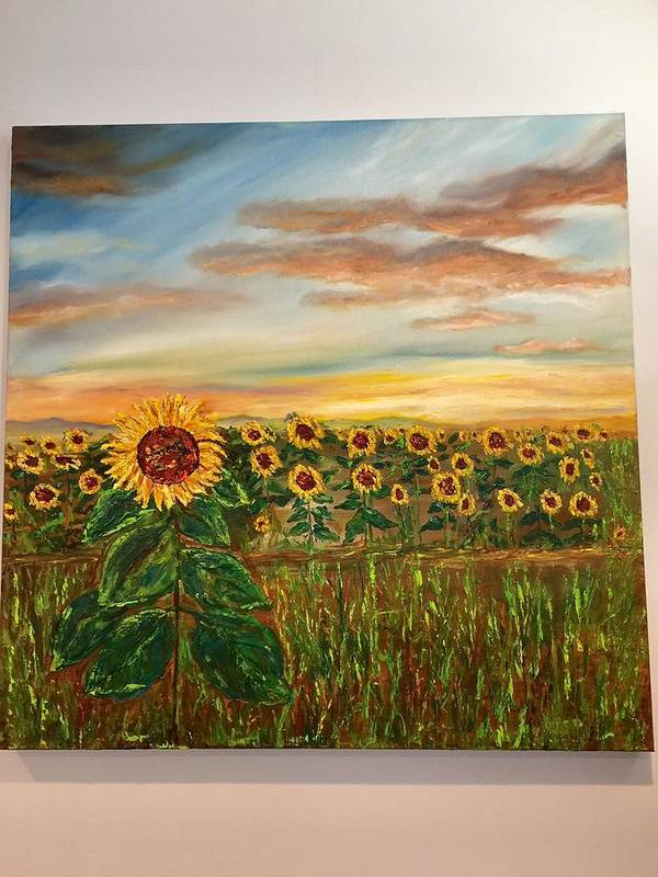 Original Oil Painting Of Sunflowers. Poster featuring the painting Field Of Dreams by Fatema Ansari