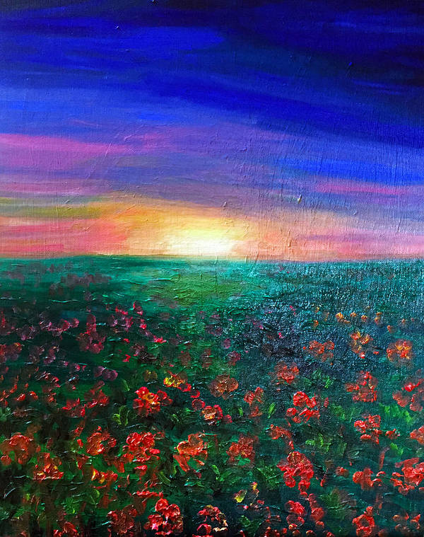 Orange Poster featuring the painting Field Of Light by Deb Wolf