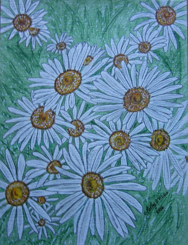 Field Poster featuring the painting Field Of Wild Daisies by Kathy Marrs Chandler