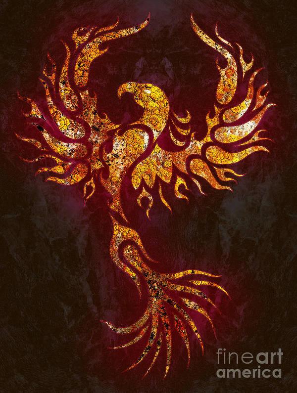 Phoenix Poster featuring the digital art Fiery Phoenix by Robert Ball