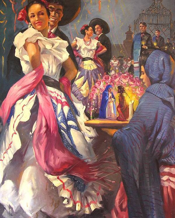 Fiesta Poster featuring the painting Fiesta Tapatia by Demetrio