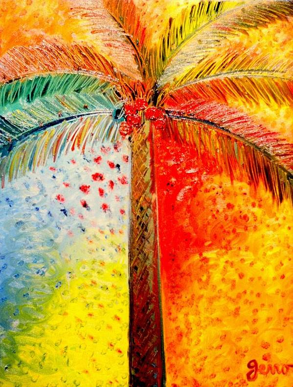 Palm Tree Art Poster featuring the painting Fig Palm Sunset by Helen Gerro