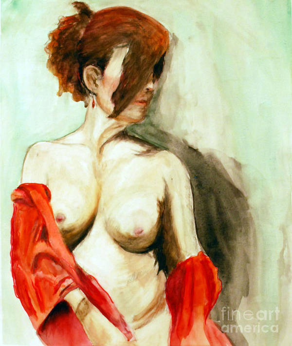 Female Poster featuring the painting Figure In Red by Lori Moon