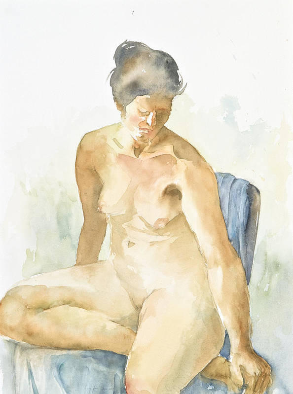 Nude Woman Poster featuring the painting Figure Sitting by Eugenia Picado