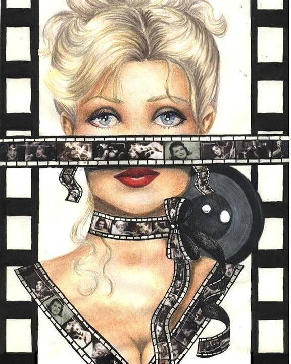 Portrait Poster featuring the drawing Film 1 by Scarlett Royal