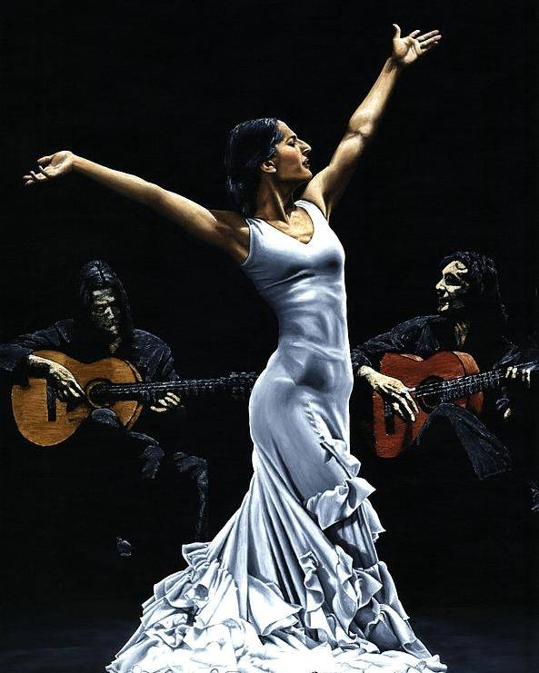 Flamenco Poster featuring the painting Finale del Funcionamiento del Flamenco by Richard Young