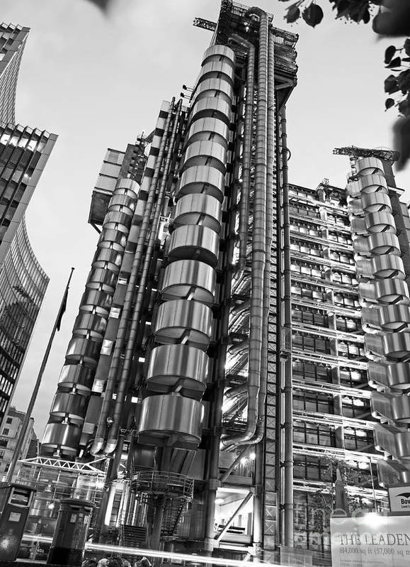 Black And White Poster featuring the photograph Finance The Lloyds Building In The City by Chris Smith