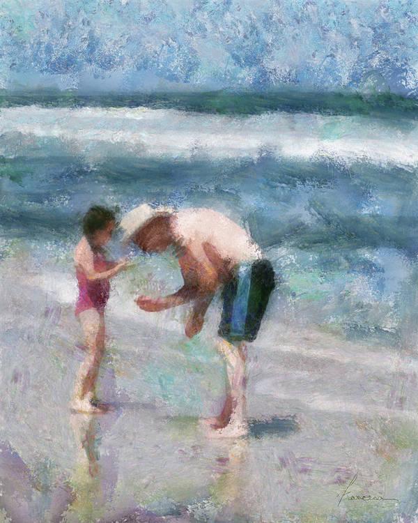 Grandpa Poster featuring the digital art Finding Seashells by Francesa Miller