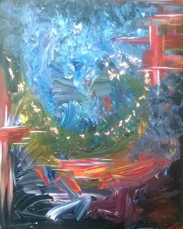 Abstract Poster featuring the painting Fire And Water by Sandra Belz