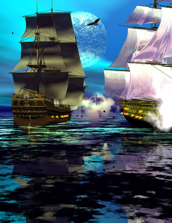 Bryce 3d Scifi Fantasy Battle \tall Ship\ Sailing Windjammer \sailing Ship\ Sailing Poster featuring the digital art Fire by Claude McCoy