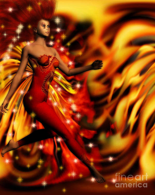 Art Poster featuring the digital art Fire Fae by Dorothy Lee