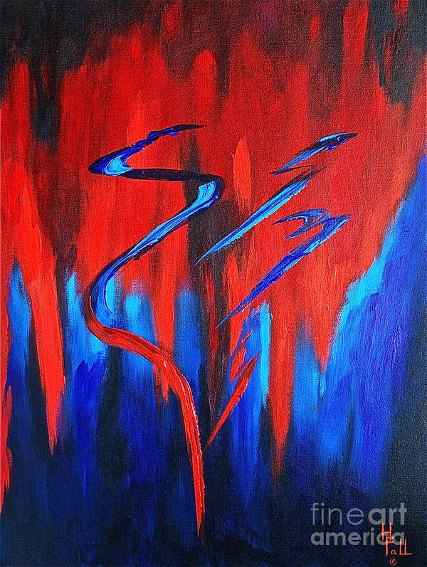 Abstract / Sexy Red And Blue By Herschel Fall Poster featuring the painting Fire Lake by Herschel Fall