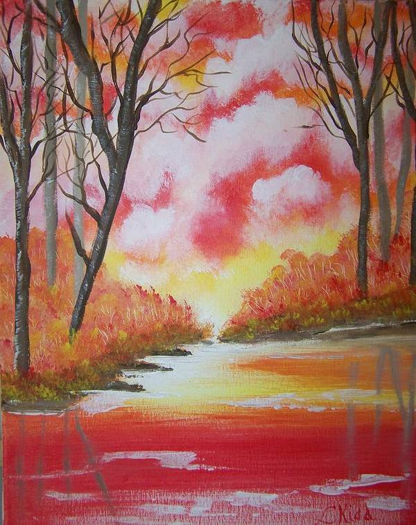 Lake Poster featuring the painting Fire Of God by Laurie Kidd