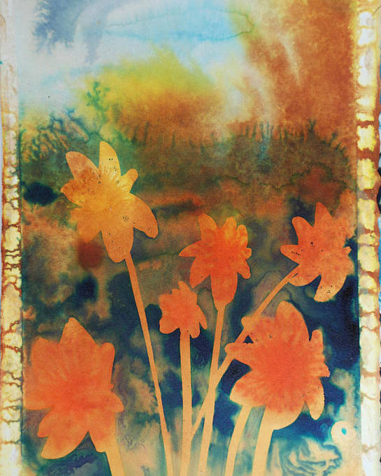 Flowers Bright Free Loose Blue Yellow Green Red Orange Poster featuring the painting Fire Storm In The Wild Flower Meadow by Amy Bernays
