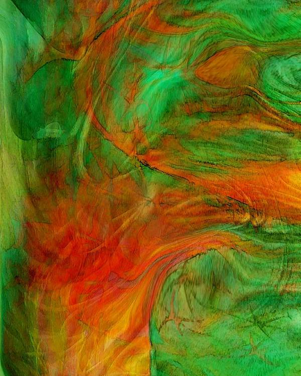 Abstract Art Poster featuring the digital art Fire Tree by Linda Sannuti