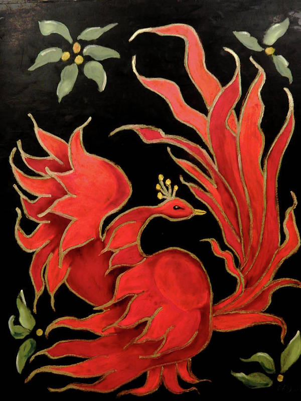 Russian 'folk Art' Poster featuring the painting Firebird by Charlie Good