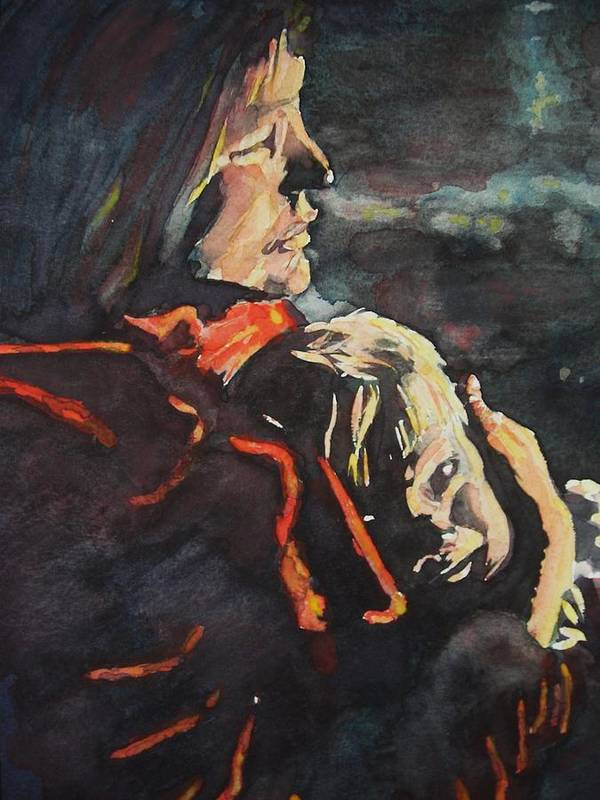 People Poster featuring the painting Firelight Comfort by Janice Gell