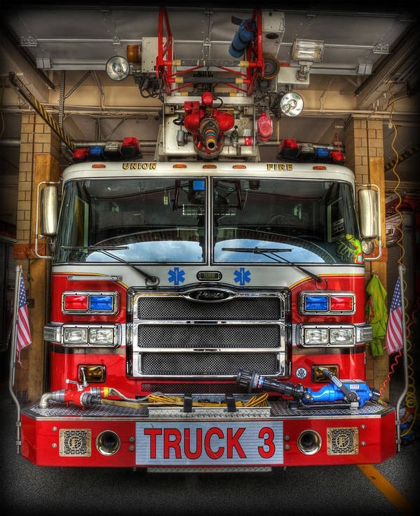 Fire Engine Poster featuring the photograph Fireman - Fire Engine by Lee Dos Santos