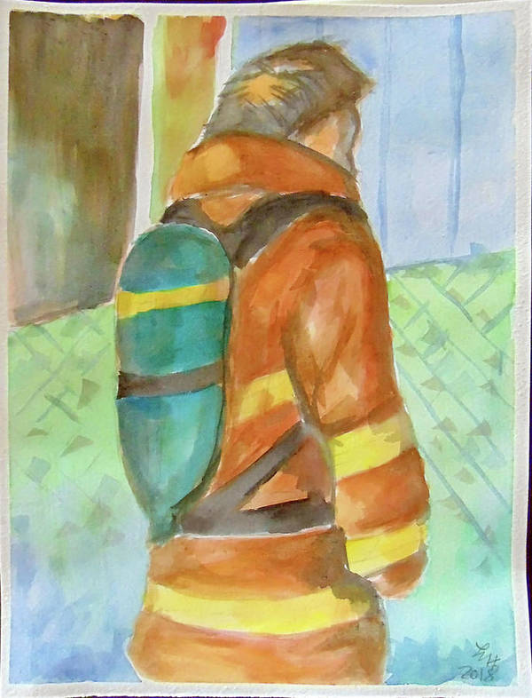 Art Poster featuring the painting Fireman by Loretta Nash