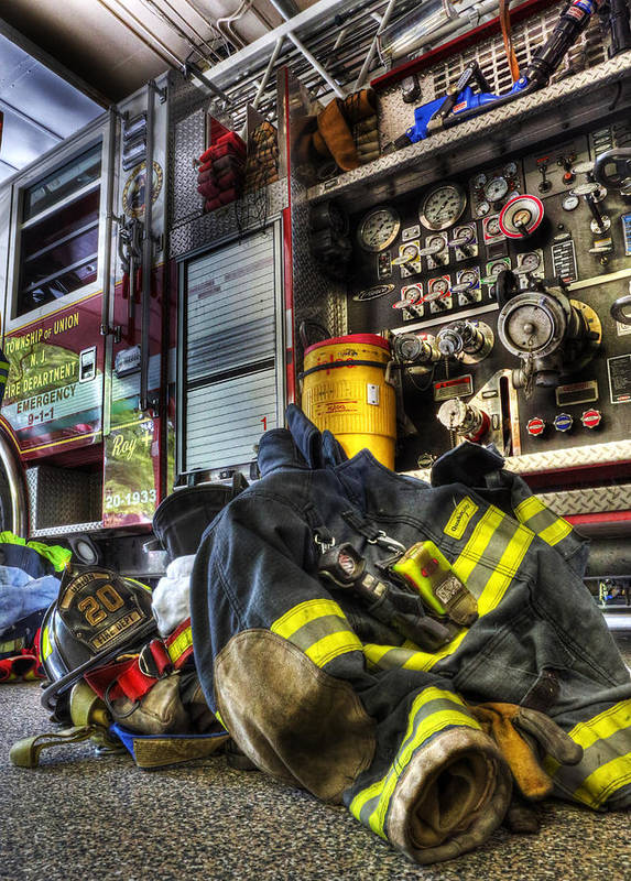 Lee Dos Santos Poster featuring the photograph Firemen Always Ready For Duty - Fire Station - Union New Jersey by Lee Dos Santos