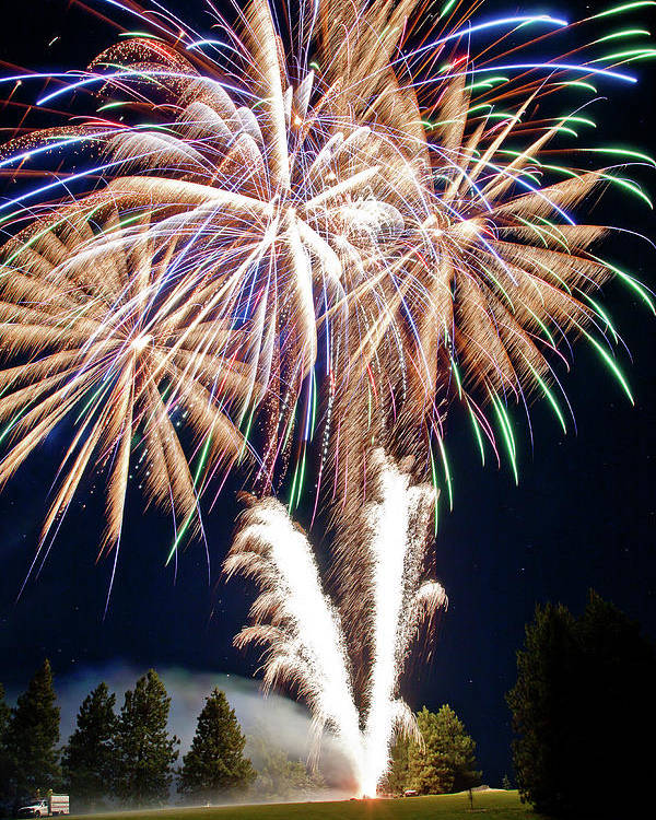 Fireworks Poster featuring the photograph Fireworks No.4 by Niels Nielsen
