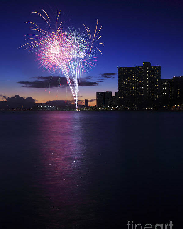 4th Poster featuring the photograph Fireworks Over Waikiki by Brandon Tabiolo - Printscapes