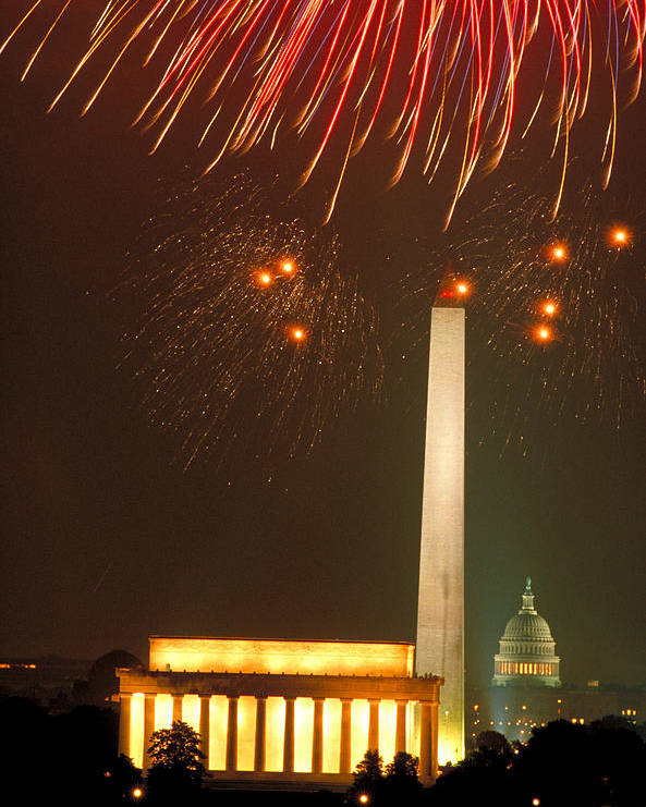 Illuminated Poster featuring the photograph Fireworks Over Washington Dc Mall by Carl Purcell