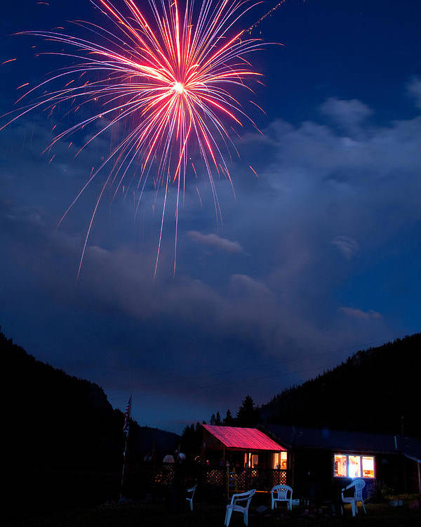 Fireworks Poster featuring the photograph Fireworks Show In The Mountains by James BO Insogna