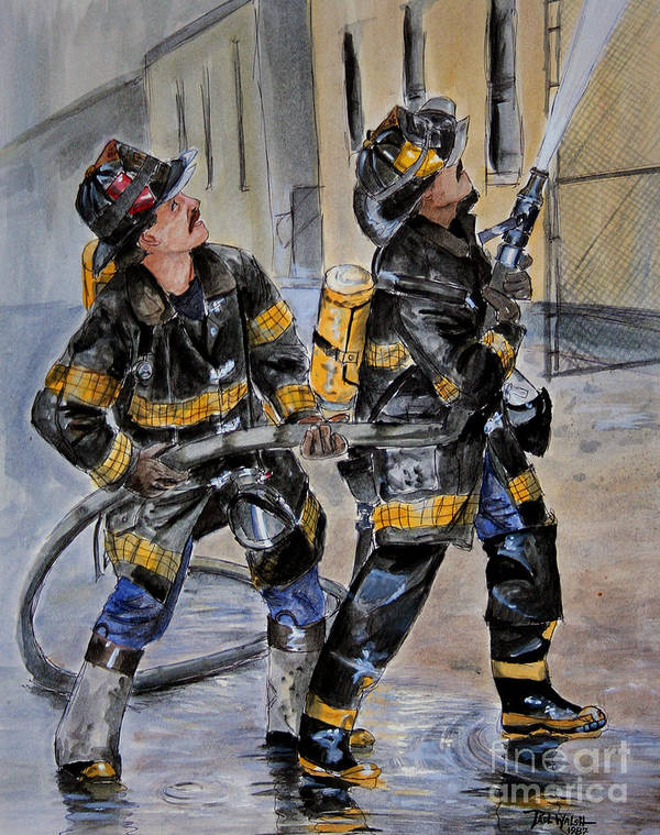 Fire House Poster featuring the painting First Due-engine 73 by Paul Walsh