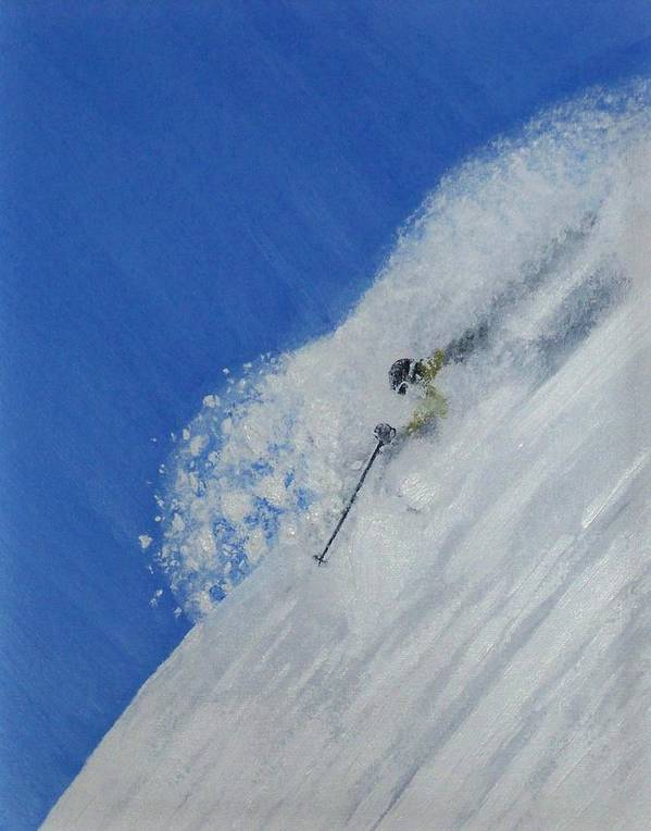 Ski Poster featuring the painting First by Michael Cuozzo
