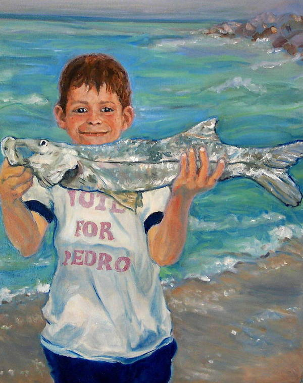 Portrait Poster featuring the painting First Snook by Ruth Mabee
