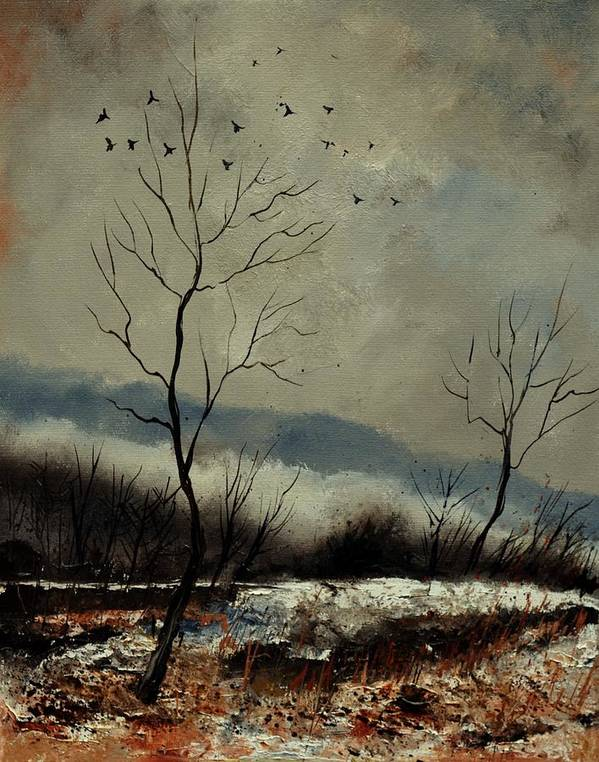 Landscape Poster featuring the painting First snow in Harroy by Pol Ledent