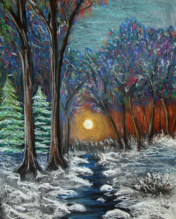 Snow Poster featuring the pastel First Snow by Nancy Mueller
