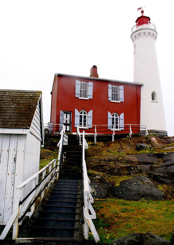 Architecture Poster featuring the photograph Fisgard Lighthouse by Sonja Anderson