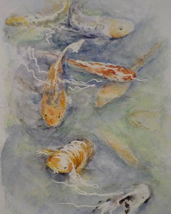 Fish Poster featuring the painting Fish Pond by Lizzy Forrester