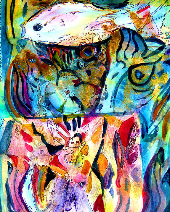 Acrylic Poster featuring the painting Fish Pot by Mindy Newman