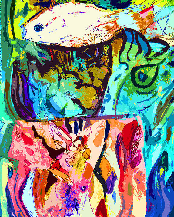 Fish Poster featuring the painting Fish Soup by Mindy Newman