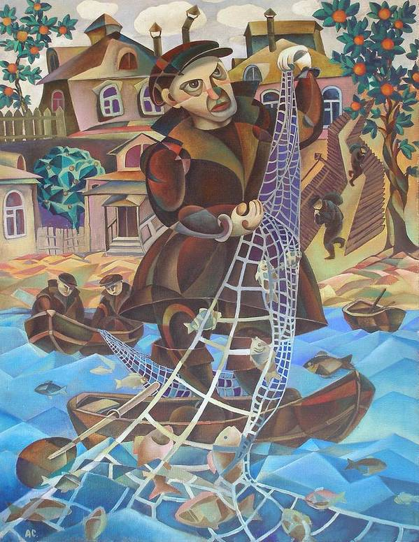 Avant-garde Poster featuring the painting Fisherman by Andrey Soldatenko